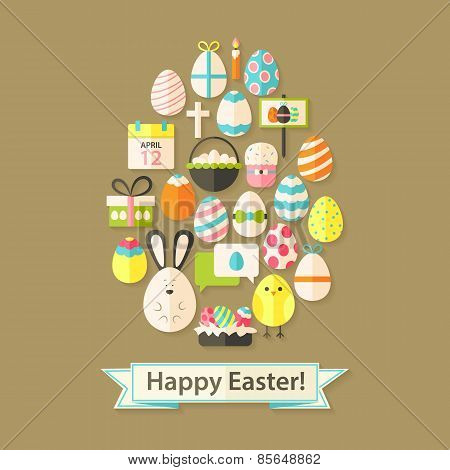 Easter Holiday Greeting Card With Flat Icons Egg Shaped
