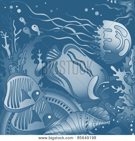 Vector illustration with underwater world of the tropical sea