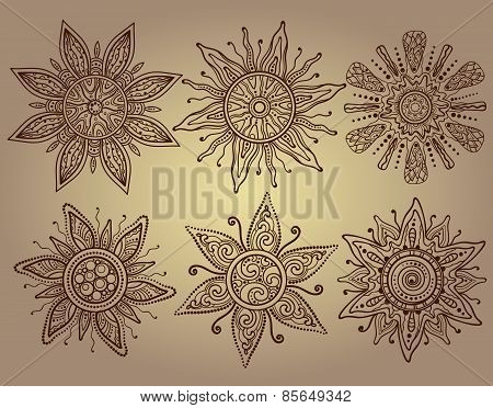 Vector print of six ornamental suns with a lot of details