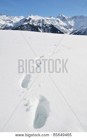 Footprints in the deep snow. Switzerland