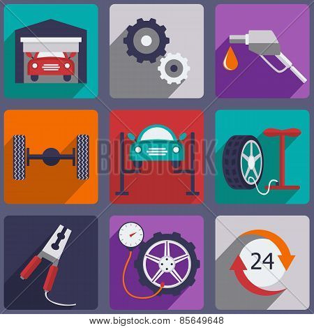 Car repair icons set with mechanic service and garage tools vector