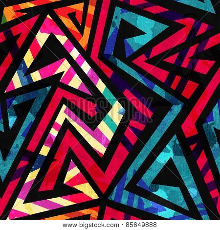 Bright Labyrinth Seamless Pattern With Grunge Effect