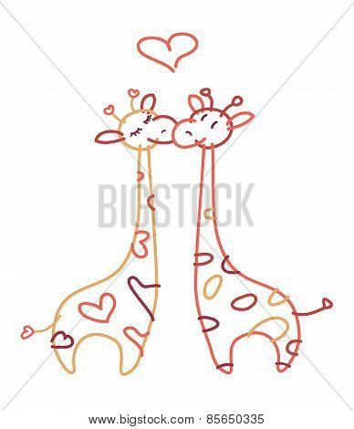Vector cute giraffes in love.