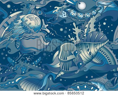 Vector seamless sea pattern with tropical fishes, stars
