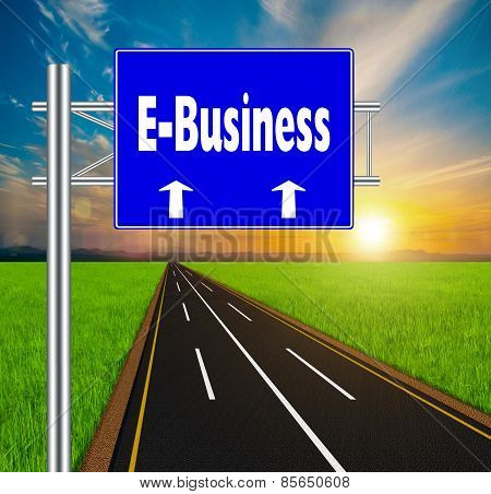 Blue Road Sign Concept E-business On Soft Natural Landscape Background.