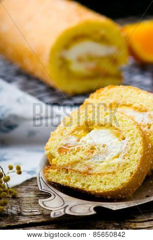Swiss Roll With Whipped Cream And Orange Cream