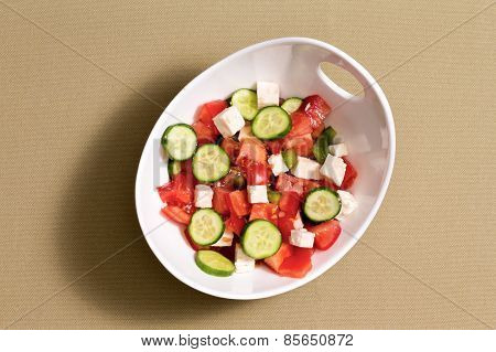 Simple Fresh Salad With Feta Cheese