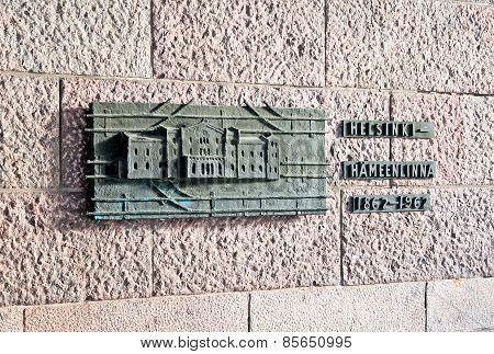 Helsinki. Finland. Bronze relief near the main entrance to the Central Railway Station