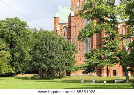 English Garden And The West Facade Of Doberan Minster