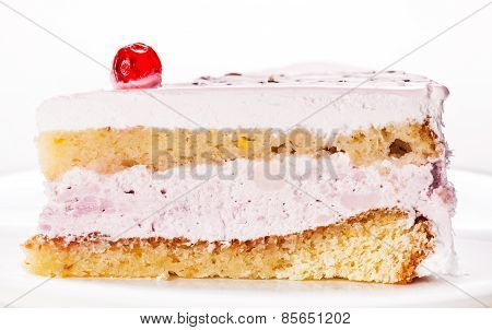 Fresh Vanilla Slice Of Cake Closeup