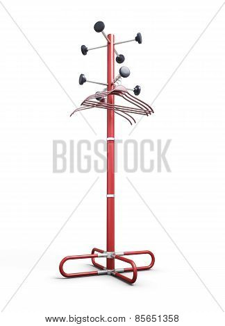 Rack With A Coat Hanger For Clothes On A White