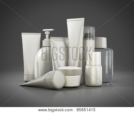 Cosmetics Set On A Gray Background