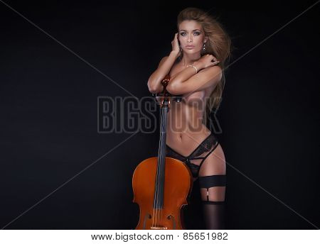 Sexy Beautiful Woman Posing With Cello.