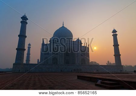 Taj Mahal In The Fog At Sunrise