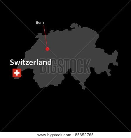 Detailed map of Switzerland and capital city Bern with flag on black background
