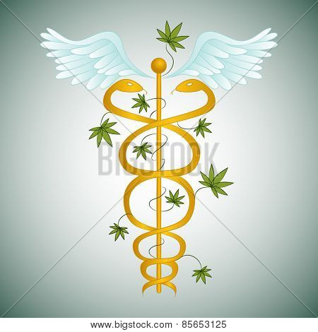 An image of a medical marijuana caduceus.
