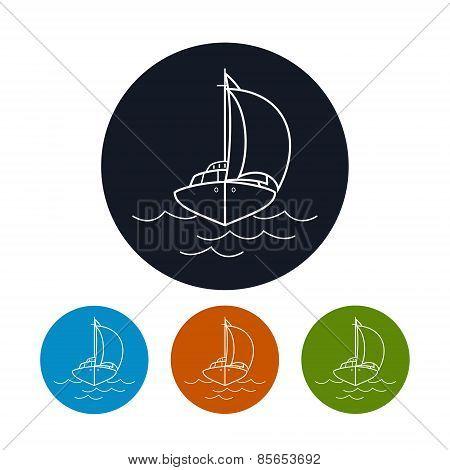 Icon Yacht,  Vector Illustration