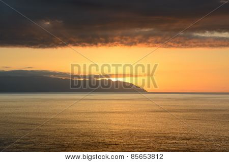 Sunset In The Clouds Over Gomera Island, Tenerife, Canary, Spain.