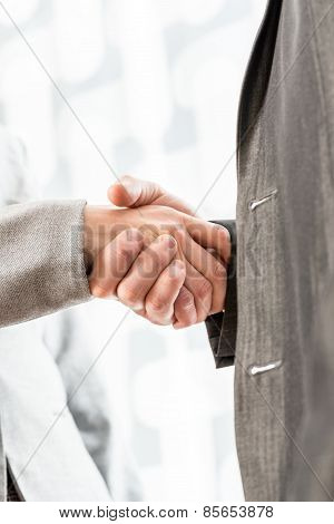 Businesspeople Shaking Hands Over A Blurred Abstract Background