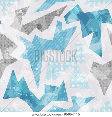 Cold Color Geometric Seamless Pattern