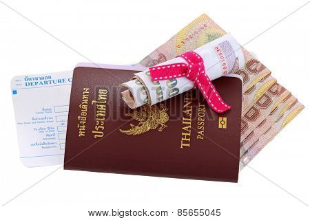 Thai electronic passport with Thai Baht and departure card, isolated on white background