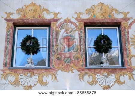 ST. WOLFGANG, AUSTRIA - DECEMBER 14: Christmas decoration on the building in St. Wolfgang on Wolfgangsee in Austria on December 14, 2014.