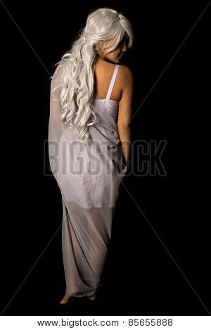 Woman Gray Hair From Back Stand On Black Full Body