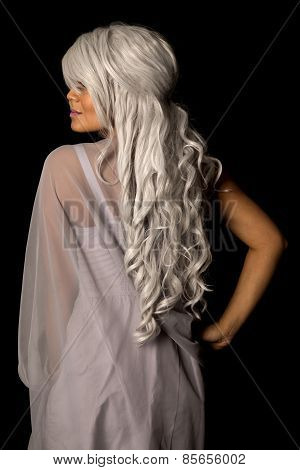 Woman Gray Hair From Back Stand On Black Showing Part Of Face