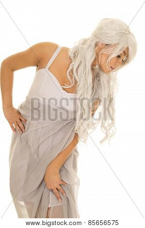 Woman With Gray Hair Stand Lean To Side