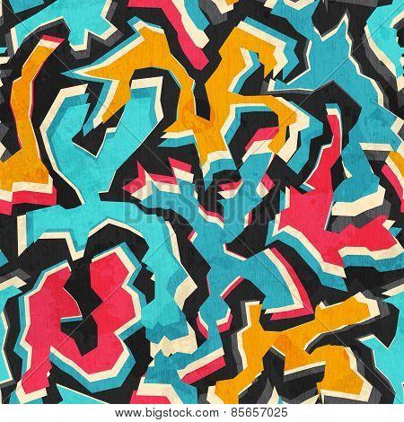 Colored Graffiti Seamless Pattern With Grunge
