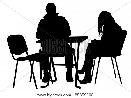 People for lunch at a restaurant on white background