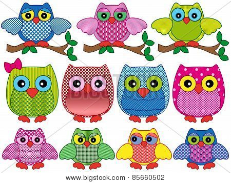 Set Of Eleven Ornamental Cartoon Owls