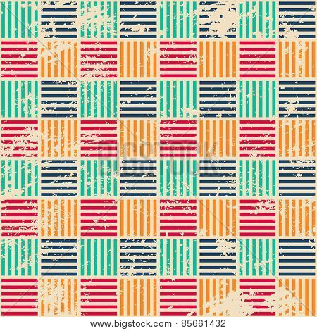 Colored Woven Seamless Pattern With Grunge Effect