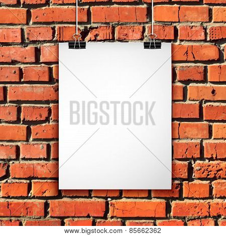 White paper sheet on brick wall. Vector background with blank poster
