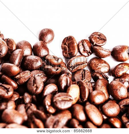Coffee Beans Isolated On White Background With Copyspace For Text. Coffee Background Or Texture Conc