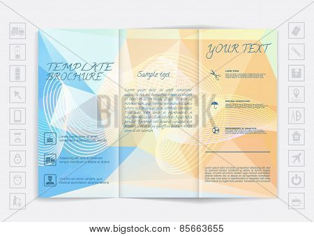 Tri-fold Brochure Mock Up Vector Design. Polygonal Background With Waves And Shiny Elements.