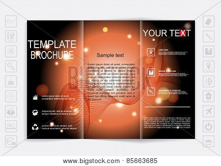 Tri-fold Brochure Mock Up Vector Design. Background With Shiny Elements.