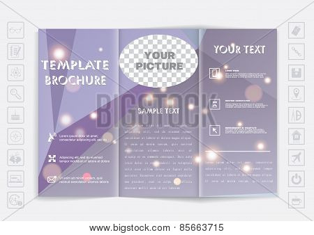 Tri-fold Brochure Mock Up Design. Polygonal Background With Shiny Elements.
