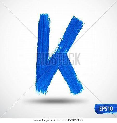 Alphabet Letter K. Watercolor Alphabet. Vector Background