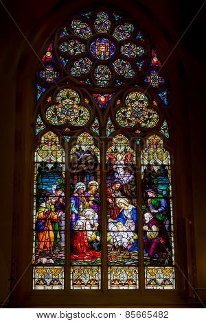 SAINT LOUIS, MO- MARCH 11: Stained Glass Window of Nativity of Christ at St John Nepomuk Church