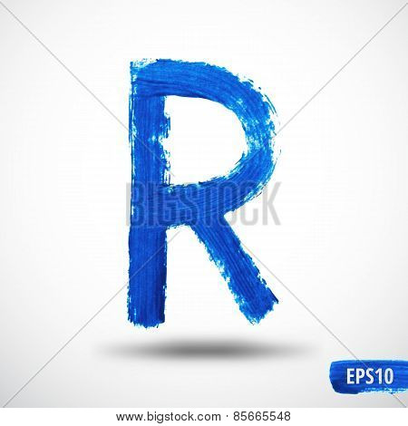 Alphabet Letter R. Watercolor Alphabet. Vector Background