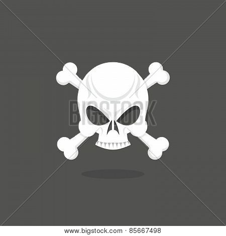 Jolly Roger. Skull and bones. pirate vector flag