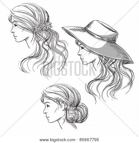Girl with different hairstyles. Profile view. girl in a hat. Hand drawn