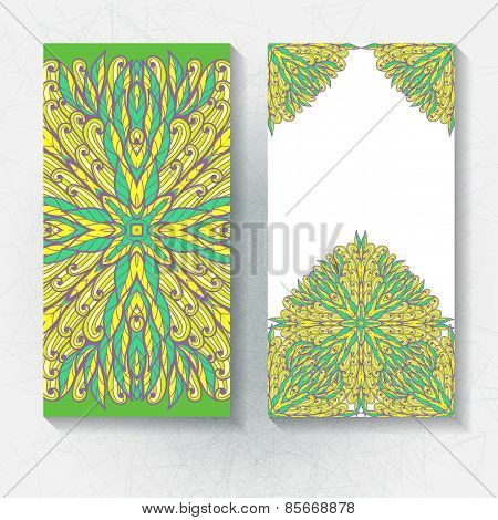Set Of Vertical Hand Drawn Floral Banners, Invitation, Greeting Or Visiting Cards. Eps10
