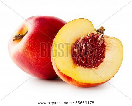 Cut juicy nectarine with bone