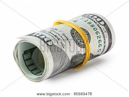 Hundred-dollar bills rolled into a roll