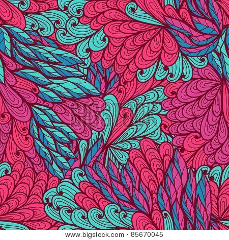 Seamless Floral Blue And Pink Hand Drawn Doodle Pattern