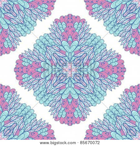 Seamless Geometric Pattern With Hand Drawn Pink And Blue Ornamental Rectangles