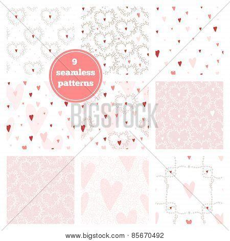 Vector Set Of Nine Pink Seamless Patterns - Hearts, Wreaths, Branch Frames, Swirls.