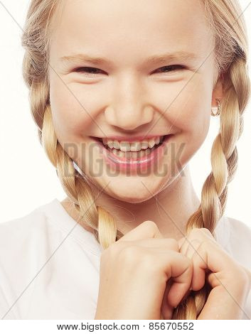 Little happy girl with big smile.Picture for dentistry.